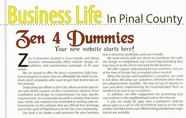 Zen4Dummies Story in LifeStyles magazine
